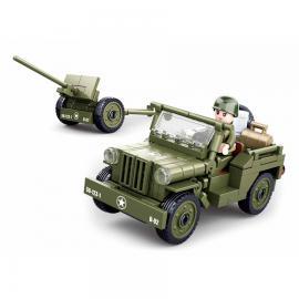 Sluban WWII Allied jeep anti-aircraft guns M38-B0853